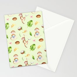 Cute pink brown watercolor hand painted monkey floral pattern Stationery Cards