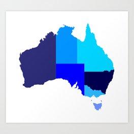 Australia State Silhouette Art Print