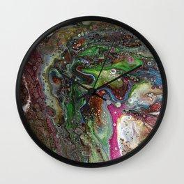 Fluid Acrylic VI - Original, abstract, textured fluid pour painting Wall Clock