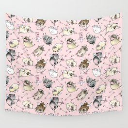 Love is in the Air - Cute Pug Cupids Wall Tapestry