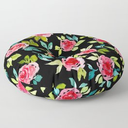 Roses Pattern Pink Teal Floor Pillow