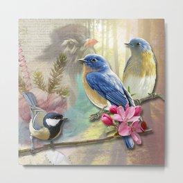 Vintage Bird Collage & Nature Backdrop Metal Print