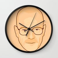 walter white Wall Clocks featuring Walter White by sknny