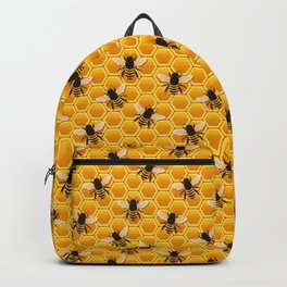 Golden bees on honeycomb Backpack