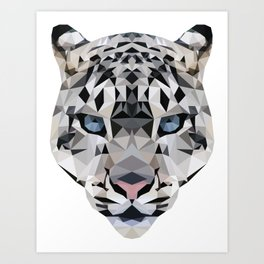 Low poly snow leopard Art Print