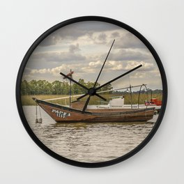 Fishing and Sailboats at Santa Lucia River in Montevideo, Uruguay Wall Clock