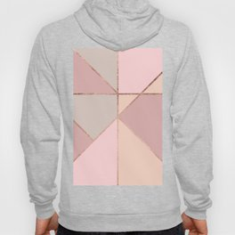 Modern rose gold peach blush pink color block Hoody