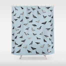 Pigeons Doing Pigeon Things Shower Curtain