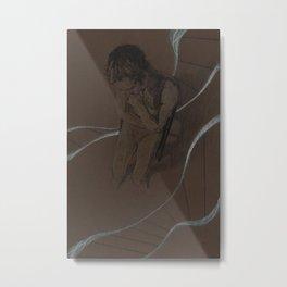 Man Figure Pencil Charcoal Drawing Realistic Minimalist Conceptual Symbolist Art Dark Brown Art Print Metal Print