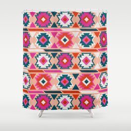 Kilim Abundance Pattern  - Blush & Teal Palette Shower Curtain