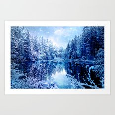 Blue Winter Wonderland : Forest Mirror Lake Art Print