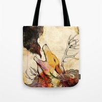 howl Tote Bags featuring Howl by Lucy Wood - White Rabbit Says