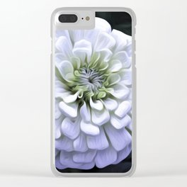 The White Zinnia Clear iPhone Case