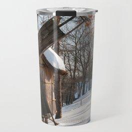 Winter Romanian postcard with windmills Travel Mug
