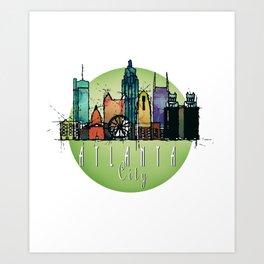 Cool Atlanta City Skyline, GA Retro Design Art Print