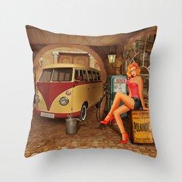 Pin up girl in nostalgic workshop Throw Pillow