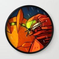 metroid Wall Clocks featuring Samus (Metroid) by Peerro