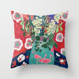 Wild Flowers in Flamingo Vase Floral Painting Throw Pillow