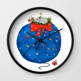 Christmas Cat Wall Clock
