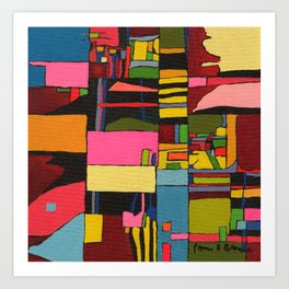 Colors in Collision 2 - Geometric Abstract in Blue Yellow Pink and Green Art Print
