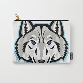Artic Wolf Head Front Mascot Carry-All Pouch