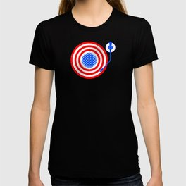 American Flag Vinyl Record Player Turntable T-shirt