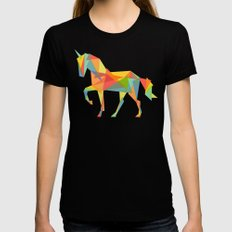 Fractal Geometric Unicorn Black Womens Fitted Tee MEDIUM