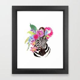 Zebra with Flowers Framed Art Print
