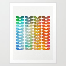 Colorful Leaves from Blue to Orange Art Print