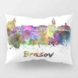 Brasov skyline in watercolor Pillow Sham