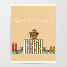 Christmas Yorkshire Terrier (Yorkie) with presents Poster