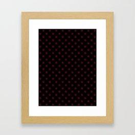 Crimson Red on Black Snowflakes Framed Art Print