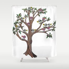 Cockatoos sitting in a Gum Tree Shower Curtain