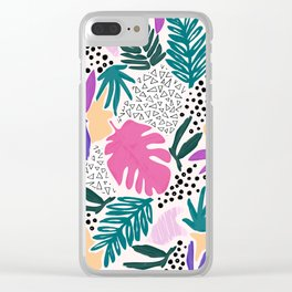 Tropical Colourful Collage Pattern Clear iPhone Case