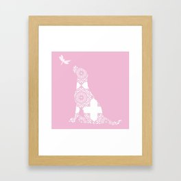 Labrador Dog on pink with dragon fly Framed Art Print