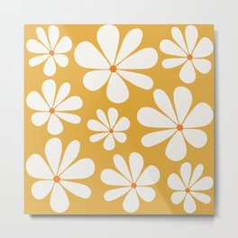 Floral Daisy Pattern - Golden Yellow Metal Print