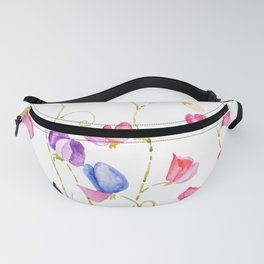 colorful sweet peas flower watercolor Fanny Pack