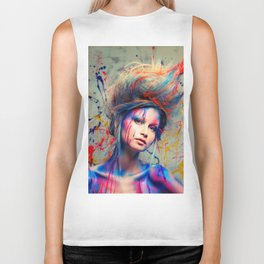 Young woman muse with creative body art and hairdo (3) Biker Tank