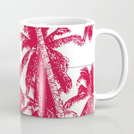 Palm Trees Design in Red and White Coffee Mug