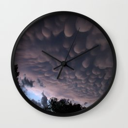 Wicked Mammatus Storm Clouds Wall Clock