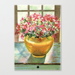 flowers in golden vase Canvas Print