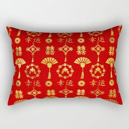 Gold on Red  Lucky Chinese Symbols  Pattern Rectangular Pillow