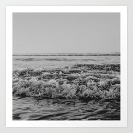 Black and White Pacific Ocean Waves Art Print