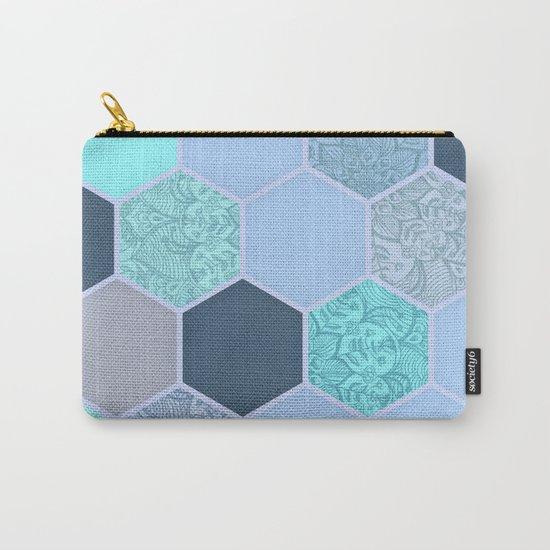 Denim Blue, Aqua & Indigo Hexagon Doodle Pattern Carry-All Pouch