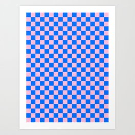 Cotton Candy Pink and Brandeis Blue Checkerboard Art Print