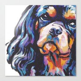 black and tan Cavalier King Charles Spaniel Dog Portrait Pop Art painting by Lea Canvas Print