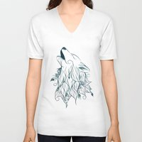 wolf V-neck T-shirts featuring Wolf by LouJah