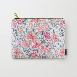 Coral and Grey Candy Striped Crayon Floral Carry-All Pouch
