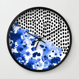 Monroe - painted abstract watercolor ink polka dots dotted indigo blue minimalism nursery Wall Clock