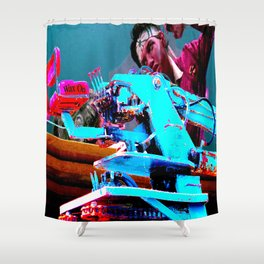 Quick!  Engage the Wax Machine! Shower Curtain